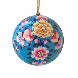 Bright Blue Floral Splash Bauble
