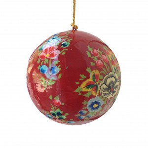 Red Floral Splash Bauble