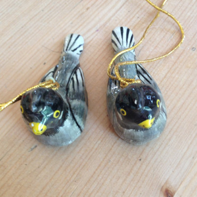 Hand Painted Papier Mache Bird Decoration – Grey Birds
