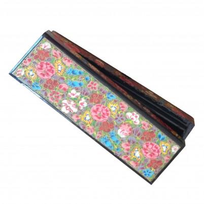 Hand Painted Papier Mache Turquoise & Pink Floral Long Bracelet box