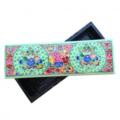 Floral Green Long Bracelet Box