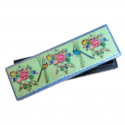 Hand Painted Papier Mache Braclet Box Green