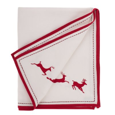 Jasmine White Leaping Reindeer Table CLoth
