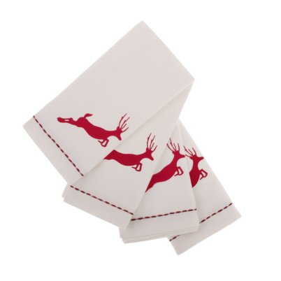Napkins Leaping reindeer with white border (Set of 4)