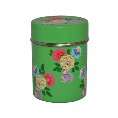 Bright Green Colour posy tea caddy