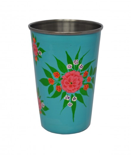 Jasmine White London Turquoise with magenta posey Tumbler