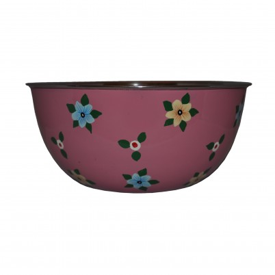Dusty Pink Enamelware bowl with small flowers