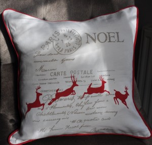 Pure linen, super comfortable cushion with leaping reindeer by Jasmine White London