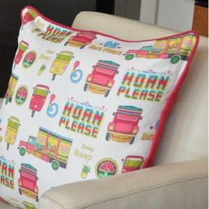 Indian Street Design cushion by Jasmine White London