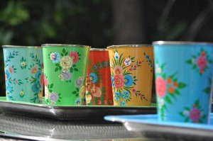 A selection of handpainted enamelware with Jasmine White London own designs