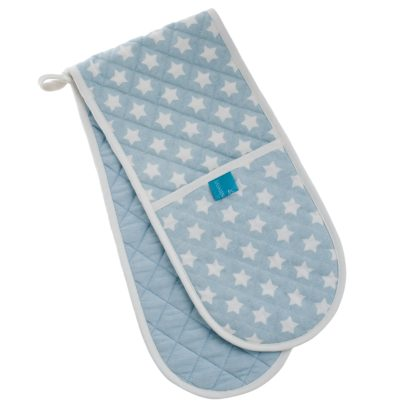Blue stars double oven glove with contrast loop detail