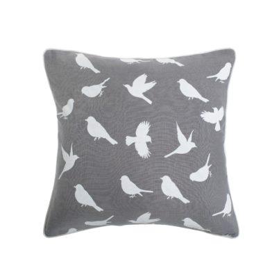 Shadow Grey and White Birds cushion