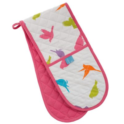 Pastel Birds double oven glove
