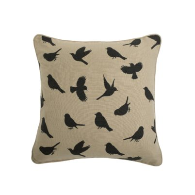 black on biscuit birds cushion
