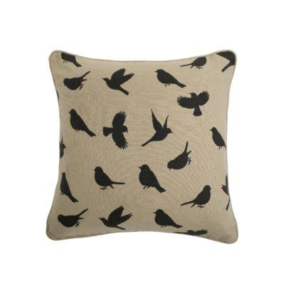 black on biscuit birds cushion