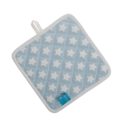 Blue Stars pot holder with contrast loop