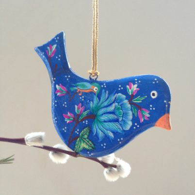 Hand painted flat bird decoration, blue with floral design