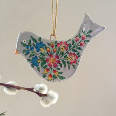 Hand Painted papier mache  flat silver bird decoration with flora splashl design