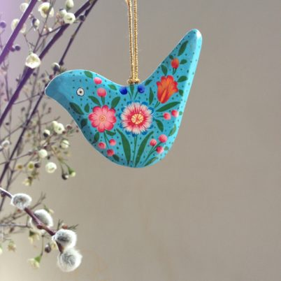 Hand Painted Papier Mache Bright Blue Bird