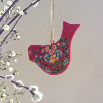 Hand Painted Papier Mache Red Bird Decoration, a flat red bird with floral design and gold string for hanging