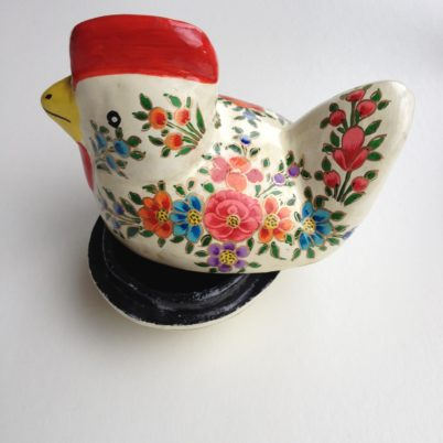 Hand Painted Papier Mache Chicken Box
