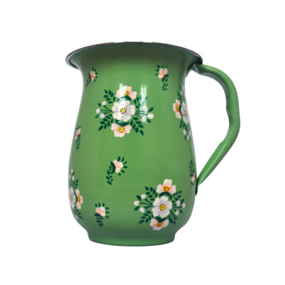 Hand Painted Enamelware Sage Green Jug with White Posy