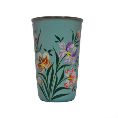 Hand Painted Enameware Tumbler Duck Egg Blue with Iris