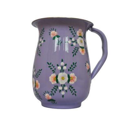 Hand Painted Enamelware Jug - Lilac with Posy by Jasmine white London