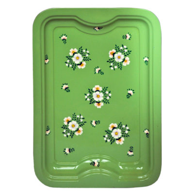 Handpainted Enamelware Sage Green Tray with white posy by Jasmine White London