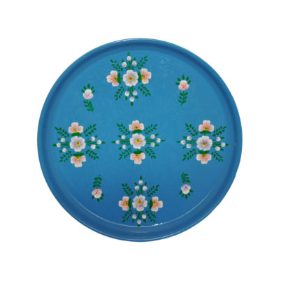 Hand painted Enamelware Round Tray Azure Blue by Jasmine WHite London