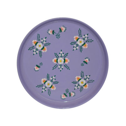 Hand painted Enamelware Lilac Round Tray with Posy