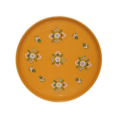 Handpainted Enamelware Round Tray Tangerine by Jasmine White London