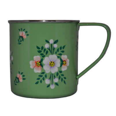Hand Painted Enamelware Mug - Sage Green white posy