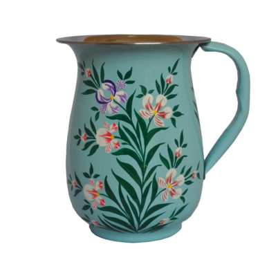 Hand Painted enamelware Jug in duck egg blue with iris design