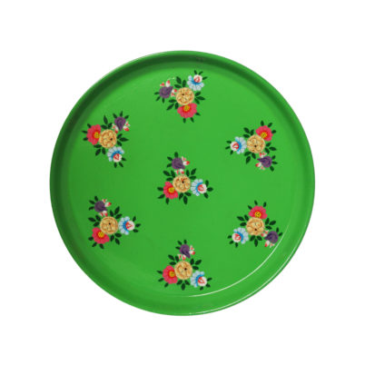 Hand Painted Enamelware Bright Green Tray with colour posy