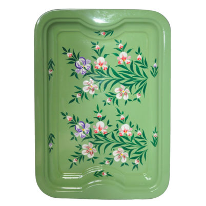 Hand Painted Enamelware Tray Sage Green with Floral Splash