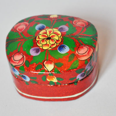 Red gitter trinket box, handpainted  papier mache  by Jasmine White London low res