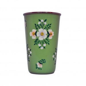 Hand painted enamelware tumbler sage green with white posy