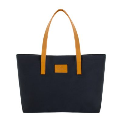 Navy canvas tote with leather handle front
