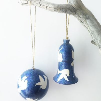 Handpainted Papier Mache Christmas Bauble Dazzling Blue Glitter with White Doves
