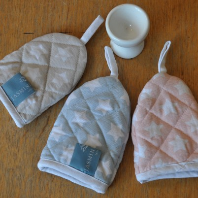 Stars Egg Cosies in soft Grey, Soft Blue and Soft Pink