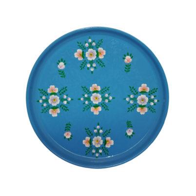 Azure Blue White Posy Round Tray