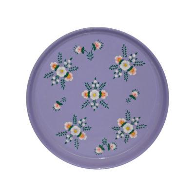 Lilac Round Tray White Posy