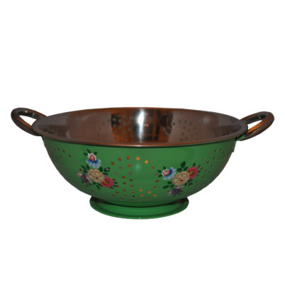 Bright Green enamelware Colander Colourful posy