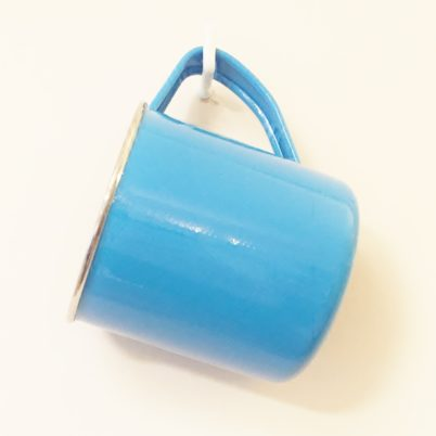 Blue Hand Painted Colour Block Mug Jasmine White London Hanging
