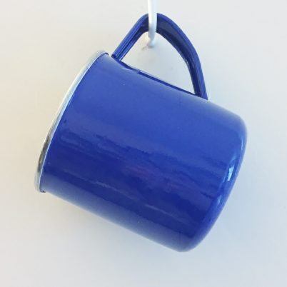 Bright Blue Handpainted Enalmelware Mug Jasmine White London Hanging