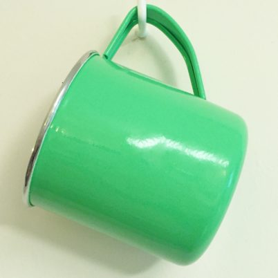 Bright Green Hand Painted Enamelware Mug Jasmine White London hanging