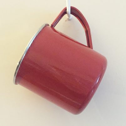 Bright Red Colour Block Handpainted Enamelware Mug Jasmine White London Hanging