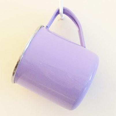 Lilac Colour Block Handpainted Enamelweare Mug Jasmine White London Hanging