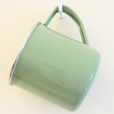 Sage Green Colour Block Handpainted Enamelware Mug Jasmine White London Hanging